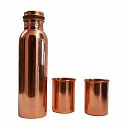 Plain Copper Bottle with Glasses