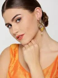 Gold-Plated Stone Studded Peacock Inspired Multicolor Drop Earrings