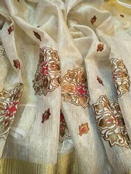 Party Wear Embroidery Embroidered Tissue Linen Saree, Machine Made, 6.3 m (with blouse piece)