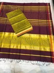 Unstitch half cotton half silk Maheshwari Top And Dupatta Sets With Hand Block Print, Handwash