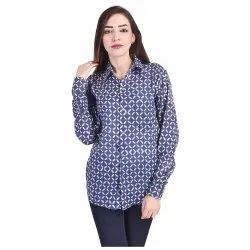 Indigo Blue Hand Block Print Women Shirt Dress