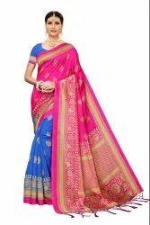 Banarasi Art Silk Party Wear Pink Saree Blouse Piece
