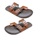 Mens Buckle Leather And Pu Slippers, Size: 6-14