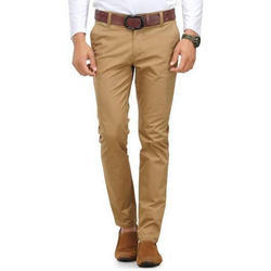 Brown Cotton Mens Regular Fit Casual Pant