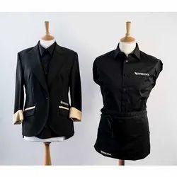 Black Pure Cotton Hospitality Uniform, Size: Medium