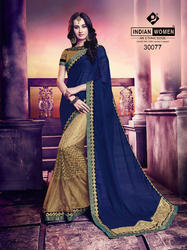 Violet and Gold Moss Chiffon & Net Jacquard Saree