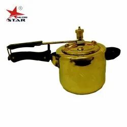 Gold Brass Pressure Cooker, For Home, Size: 3 Liters And 5 Liters