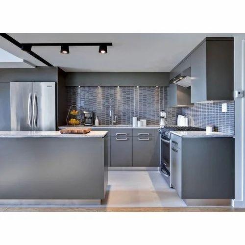 Metallic Grey Designer Kitchen Cabinet Rs 100000 Unit Precise Kitchens Id 18959046991