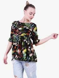 Healther Moss Printed Floral Print Top