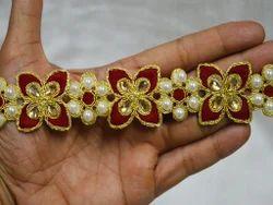 Gold Kundan Lace Indian Beaded Trimmings
