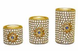 Wood Tea Lights Stone Work, Shape: Cylindrical