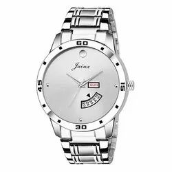 Jainx Silver Day and Date Analog Watch for Men & Boys JM312