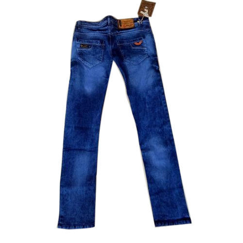 Faded Regular Fit Designer Blue Jeans