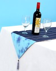 Dark Blue Kantha Work Tie Dye Cotton Table Runners