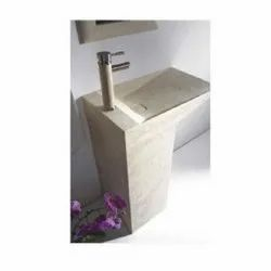 Aquant Pedestal Marble Wash Basin, For Home, Hotel