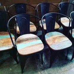 Kernig Krafts Mild Steel Metal Chair For Cafe Restaurant Food Court Hotel - Wooden Seat