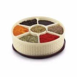 Nebula Plastic Spice Masala Rangoli Box - 7 Sections