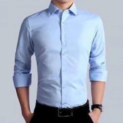 Plain Blue Mens Formal Shirts, Handwash