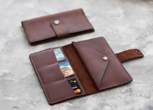 Custom Colour Male Leather Travel Wallet