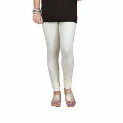 Sassy Curves Plain Cream Cotton Lycra V-Cut Churidar Leggings, Size: Free Size
