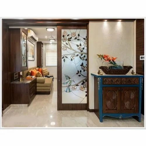 Designer Wooden Gl Sliding Door