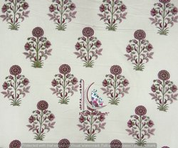 Vegetable Multi Color Print Floral Mugal Buta Block Print Cotton Fabric
