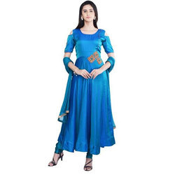 Blue Silk Anarkali Suit
