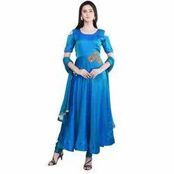Blue Silk Anarkali Suit