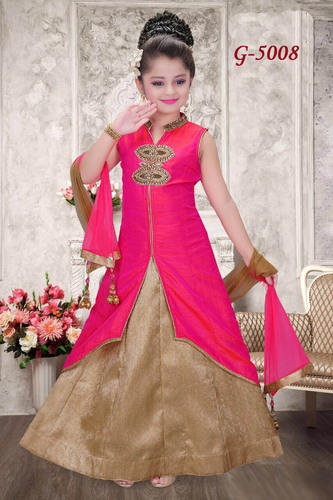 105b55d04 4 To 15 Year Girls Pink And Copper Silk Party Wear Dresses, Rs 2195 ...