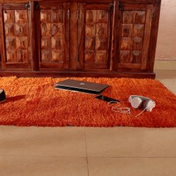 Indian Handloom Silk Touch Rug YAM Orange Color (90 x 150 cm)