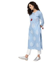 Yash Gallery Women's Cotton Cambric Sequin and Thread Work Straight Kurta