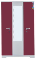 Reckon Red and Brown Triple Door Italian Almirah, for Home and Offices, Warranty: 3 Year