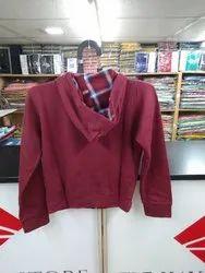 Maroon Woolen Hood Jacket, Size: S M L XL