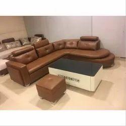 L Shape Leather L Shaped Corner Sofa Set, Back Style: Pillow Back