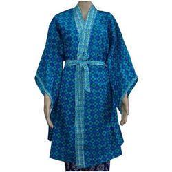 Indigo Blue Cotton Bathrobe