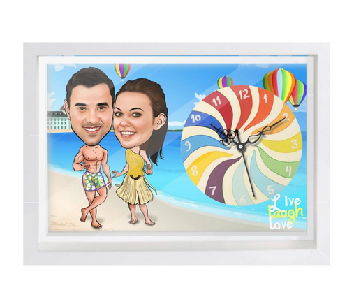 Multi Color Beach Couple - Caricature Canvas Clock   ID