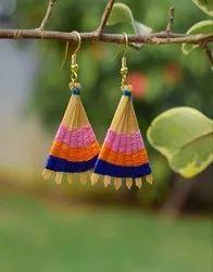 Multicolor Bamboo Earrings Fan Shaped- Pattern 1