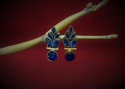 Gold Plated Blue Cut Stone Leaves Studs