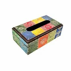 Handcrafted Wooden Colorful Tissue Box