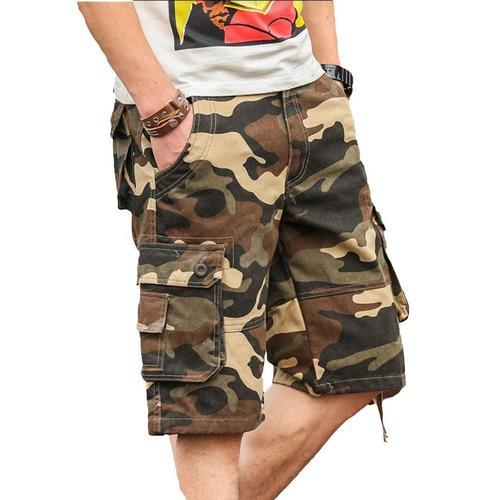 low priced fantastic savings beauty Men Camouflage Cargo Shorts 9 Pockets With Belt