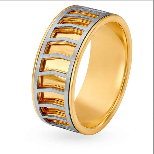 Tanishq Aveer 18kt Yellow And White Gold Finger Ring For Men