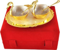 Gold Plated Swan Shaped Serving Bowl Set