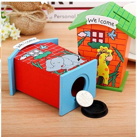 Multicolor Wooden House Money Piggy Bank Birthday Return Gift For School Play