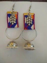 German Silver Jhumka Peacock Fabric Earrings
