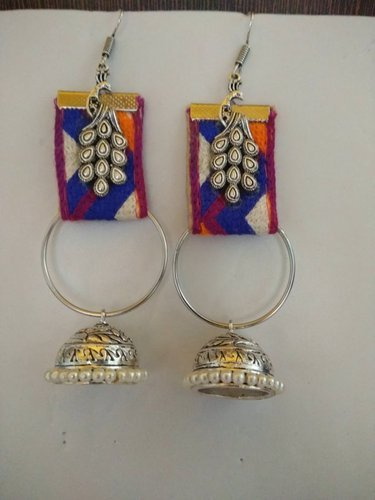 Girls Festival Fabric Earrings With German Silver Jhumka With Peacock Piece