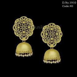Matte Gold Filligree Tops with Jhumki Earrings