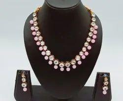 Formal Wear Traditional Kundan Pearl Necklace Set with Earrings