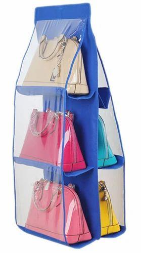 Quality Deals 6 Pocket Hanging Purse Organizer (Blue), Size/Dimension: 90*35*35 cm
