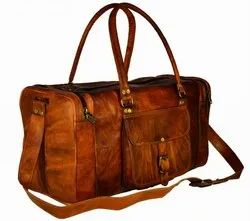 Vintage Look Genuine Leather Square/Oval Duffle Bag