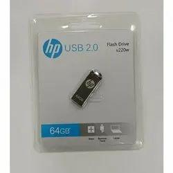 Silver Metal HP V220W 64GB USB2.0 Pen Drive, Memory Size: 64 GB, Model Name/Number: HPFD220W-64